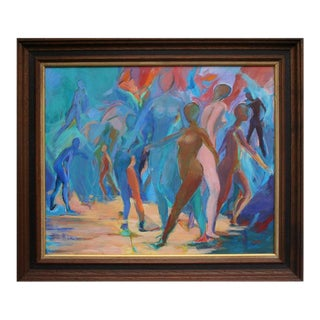 1960s Bay Area Figurative School Oil Painting, Framed For Sale