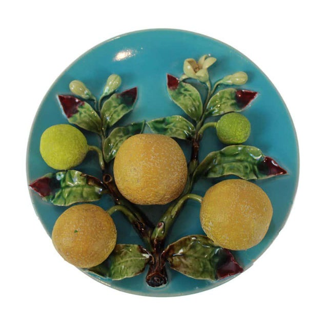 Majolica Menton French Majolica Wall Plaque on Turquoise Ground With Oranges, Circa 1880 For Sale - Image 4 of 9