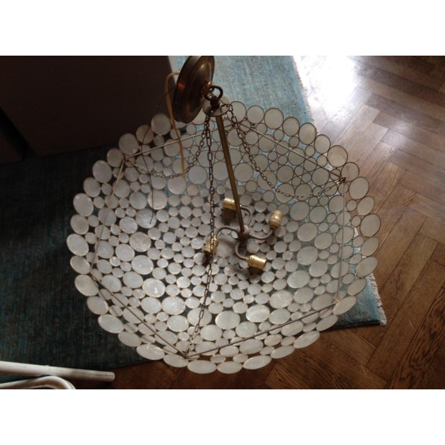 Capiz Shell & Brass Bowl Chandelier For Sale - Image 5 of 5