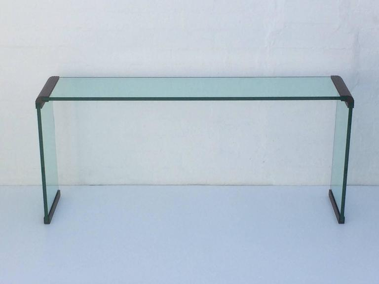 Scalloped Bronze And Glass Console Table By Leon Rosen For Pace Collection    Image 5 Of