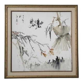 Large Mid Century Asian Colored Ink on Canvas Sumi-E Style Painting . For Sale