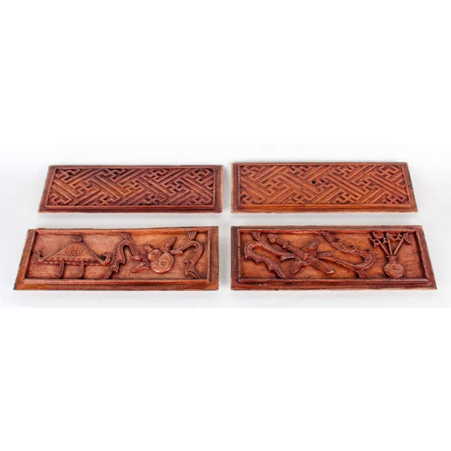 Chinese Hand-Carved Wooden Geometric & Figural Panels - Set of 4 - Image 2 of 11