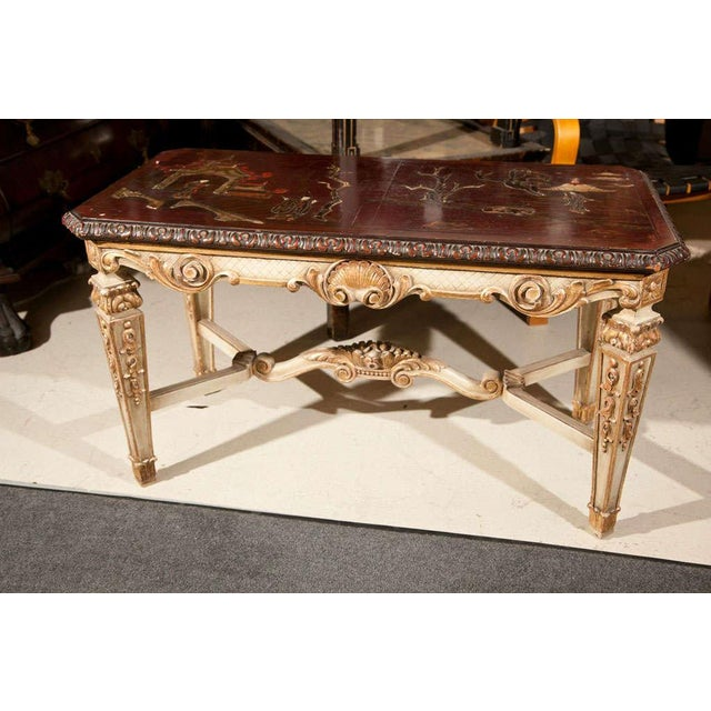 WorldClass Chinoiserie Coffee Table By Maison Jansen DECASO - Dark red coffee table