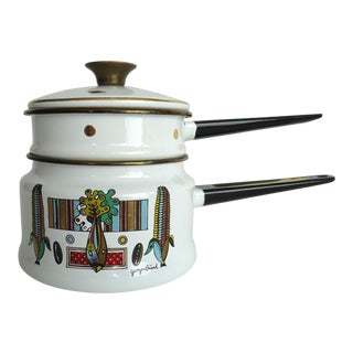 Georges Briard Mid Century Modern Enamel Double Boiler For Sale