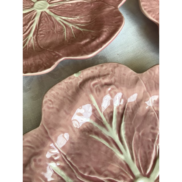 Ceramic Majolica Pink Cabbage Leaf Dinner Plates - Set of 10 For Sale - Image 7 of 8