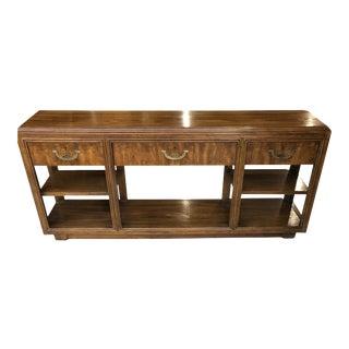 Vintage Drexel Campaign Style Console Table For Sale