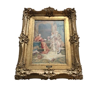 "Antique Watercolor Umberto Cacciarelli ""The Cardinal's Visit"" For Sale"
