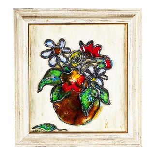 1960s Painted Tile Art by H. Jacobson For Sale