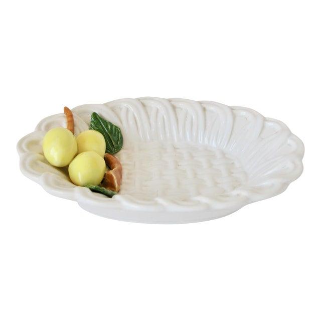 1970s Traditional Majolica Braided Lemon Ceramic Dish For Sale