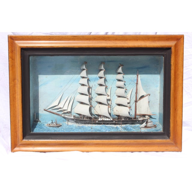 English 19th C. Antique American Sailing Ship Painting For Sale - Image 3 of 10