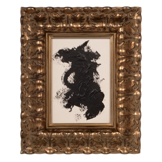 Original Black and White Abstract Painting With Ornate Frame For Sale
