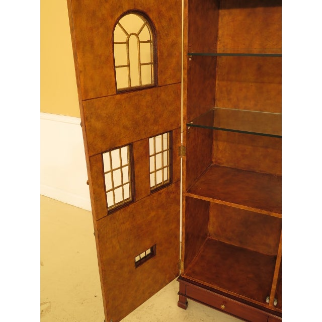 1990s Maitland Smith Leather Wrapped House Form China Cabinet For Sale - Image 5 of 13