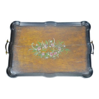 Antique Hand Painted Wood Serving Tray - a decorative piece