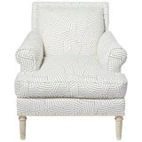 Image of Schumacher Jansen Deconstructed Stripe Maplewood-Legged Sock Arm Chair For Sale