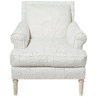 Schumacher Jansen Deconstructed Stripe Maplewood-Legged Sock Arm Chair For Sale