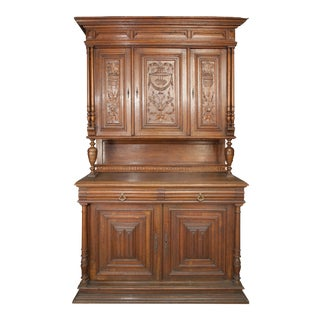 Hand Carved English Walnut Sideboard For Sale