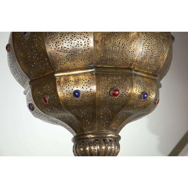 Vintage Moroccan Moorish Brass Chandelier, Alberto Pinto Style For Sale - Image 4 of 10