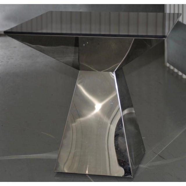 Geometric Chrome & Smokey Glass Top Side Table c.1970s Fine mid modern chrome side table. The top has a nice smokey glass...