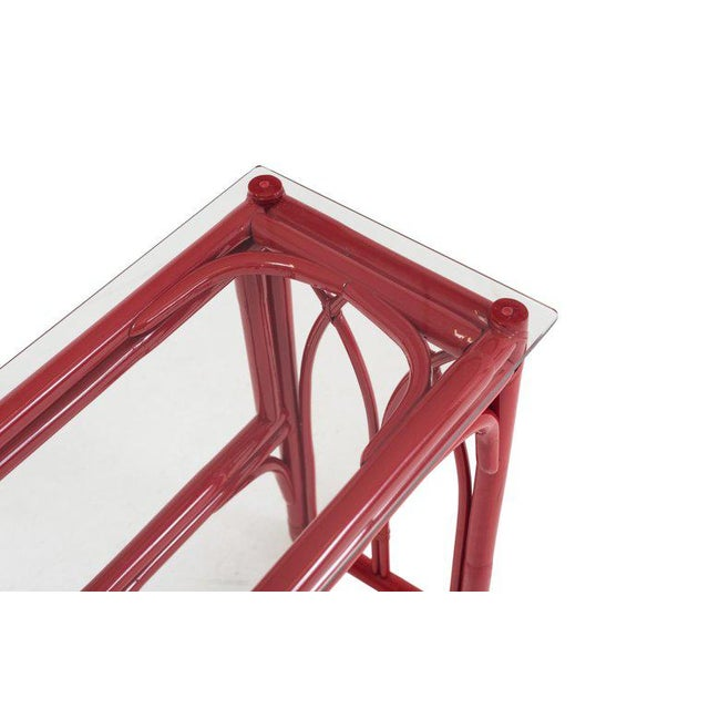 Traditional Vanity Table With Large Mirror in Red Lacquered Bamboo For Sale - Image 3 of 13