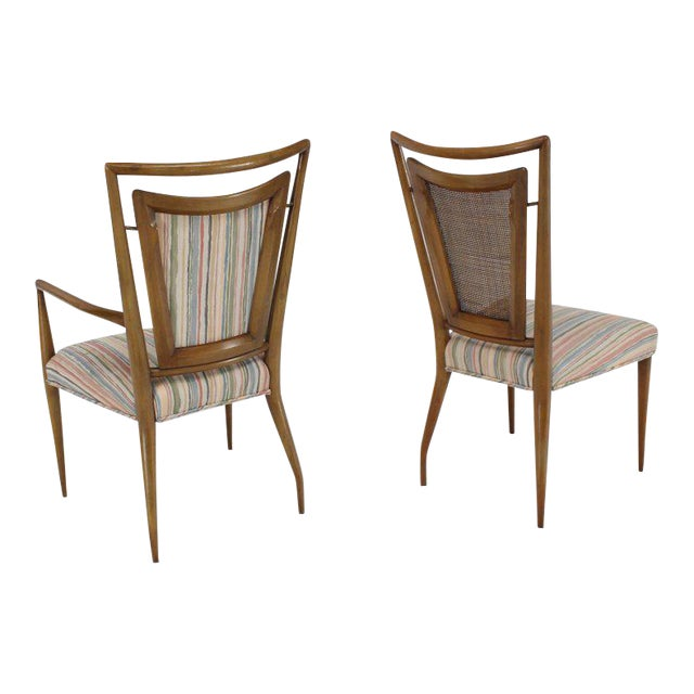 Set of Six Mid-Century Modern Walnut Dining Chairs by Widdicomb in Ponti Style For Sale