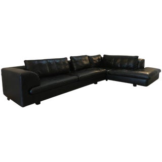 Roche Bobois Black Leather Sectional Sofa For Sale