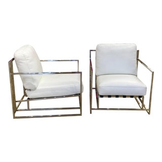 White Leather and Chrome Chairs- a Pair For Sale