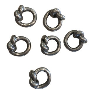Steel Knot Napkin Rings-Set of 6 For Sale