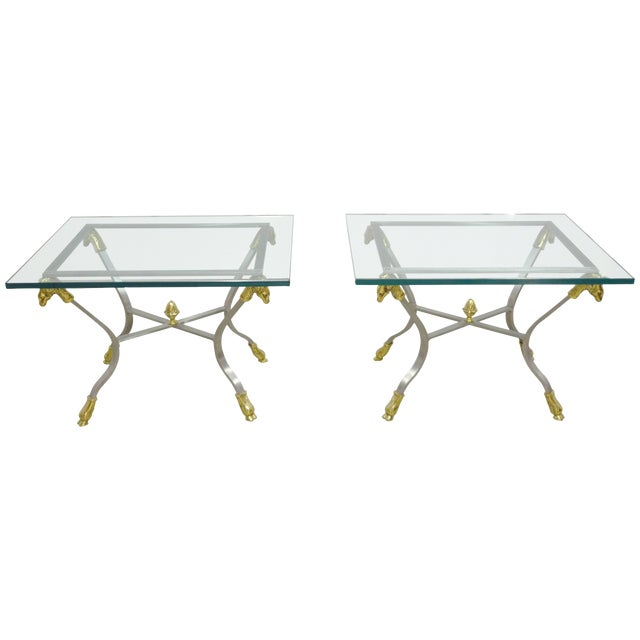 Pair of Steel, Brass and Glass Side Tables For Sale