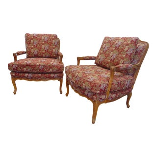 Louis XV Style Floral Tapestry Lounge Chairs - a Pair For Sale