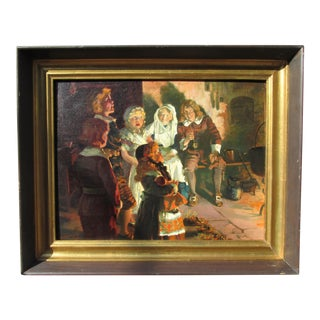 """Early 20th Century Antique Hy Hintermeister """"The Family Concert"""" Painting For Sale"""
