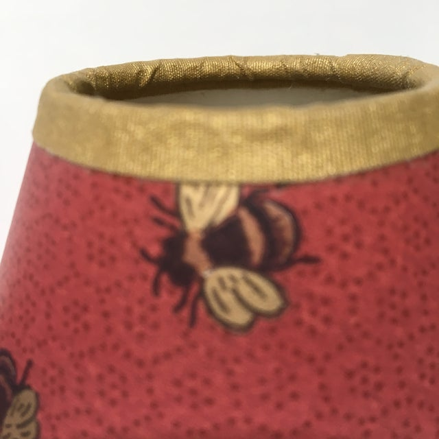 1990s Vintage Gold Bees & Honeycomb Lamp Shades - A Pair For Sale - Image 4 of 8