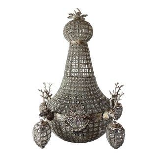 XL French Roccoco Chandelier Decorated With Deerhead in Silver Frame For Sale