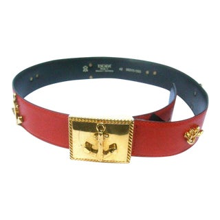 Escada Nautical Theme Red Leather Belt For Sale