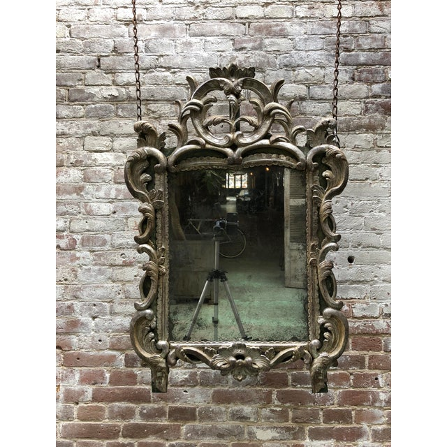 Louis XV Rare 18th Century Louis XV Mirror Silver Leaf Gilded For Sale - Image 3 of 11
