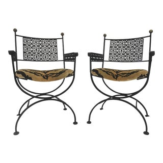 Greek Key Campaign Style Chairs - a Pair