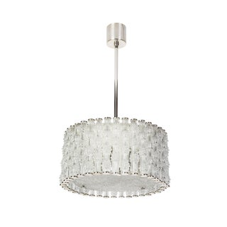 Fantastic Kaiser Primat IceTextured Crystal Drum Chandelier For Sale