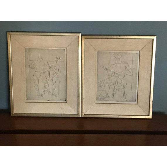 White 1948 Germany Abstract Figural Etchings by Eduard Bargheer For Sale - Image 8 of 9