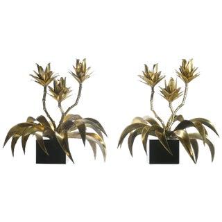 1970s Maison Jansen Hollywood Regency Brass Flower Lamps - a Pair