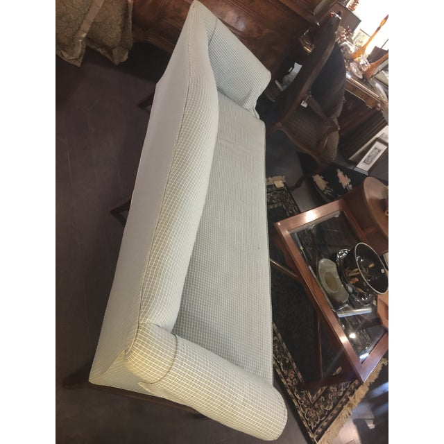 Americana Vintage Mid Century Green & White Checkered Single Cushion Sofa For Sale - Image 3 of 6