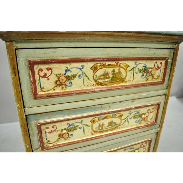 Antique Italian Venetian Blue Painted 3 Drawer Commode Chest of Drawers For Sale - Image 4 of 13