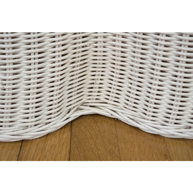 Vintage Skirted Ripple Wicker Console Table For Sale - Image 7 of 8