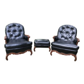 Large Gentlemen's Loungers With Ottoman ~ 3 Pieces For Sale