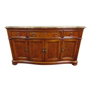 Thomasville Fruitwood & Burl Marble Top Sideboard For Sale