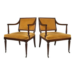 Louis XVI-Style Armchairs, Pair For Sale