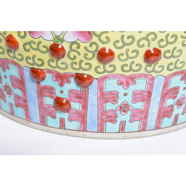 Chinese Famille Rose Garden Stools - a Pair For Sale - Image 9 of 12