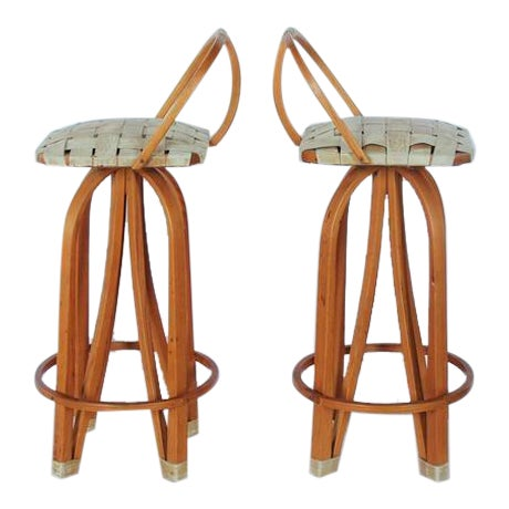 1980's Vintage Bentwood & Leather Bar Stools- A Pair For Sale