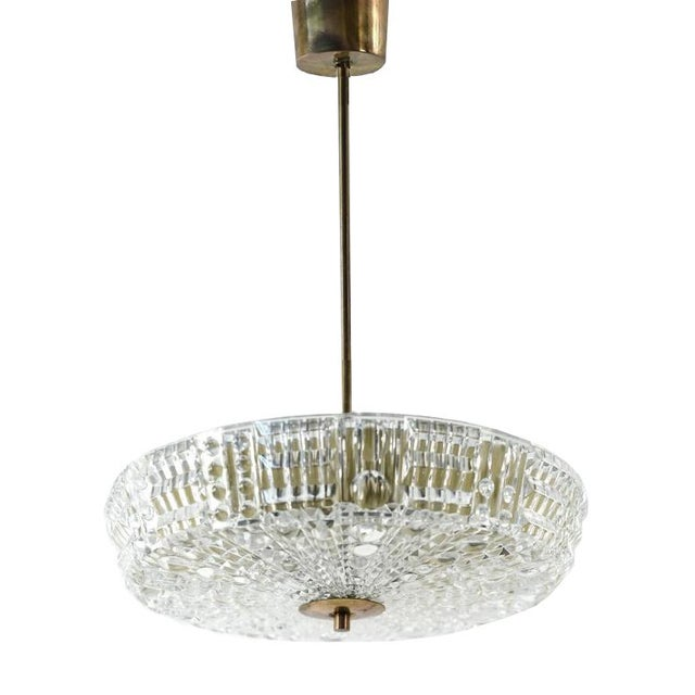 Brass Mid Century Modern Carl Fagerlund for Orrefors Glass and Brass Pendant Light For Sale - Image 8 of 8