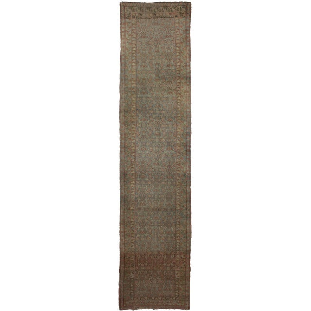 "Hand Knotted Semi Antique Bidjar Runner - 16'6"" x 3'5"" - Image 1 of 3"