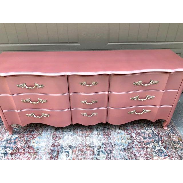 Boho Chic Vintage Drexel French Provincia Pink Triple Dresser For Sale - Image 3 of 13