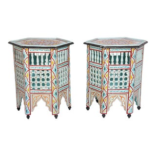 Moroccan Hand Painted Ivory Tables - a Pair For Sale